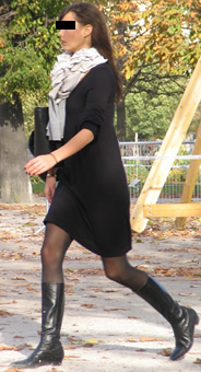 Black riding boots with dress